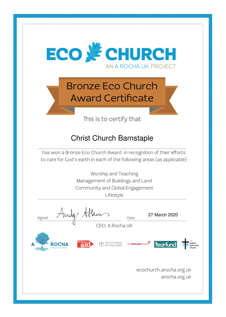 eco church bronze award certificate